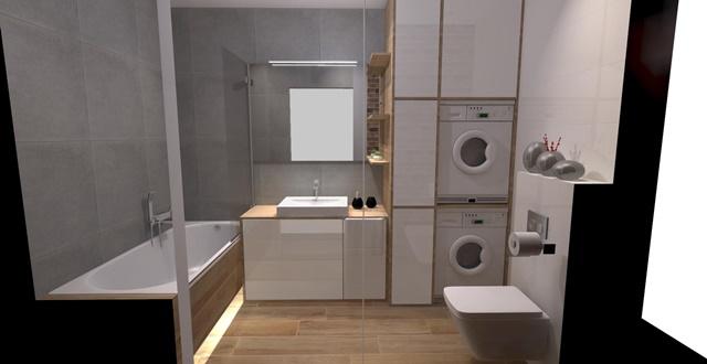 łazienka -białe meble-zabudowa-duże lustro-umywalka opoczno 70cm-wanna cersanit-szara łazienka-czerwona cegła