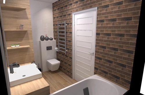 łazienka z czerwoną cegłą białe drzwi szary grzejnik zabudowa łazienkowa białe meble