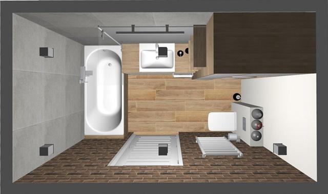 łazienka zczerwoną cegłą-wanna-zabudowa-białe drzwi-duża umywalka-półki przy lustrze-wc-drewniana podłoga właziece