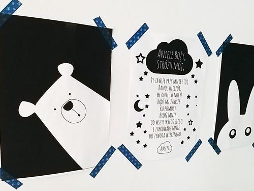 ruda chata-blog-plakaty dopokju dziecka-miś-modlitwa aniele boży - królik- plakat czarno biały