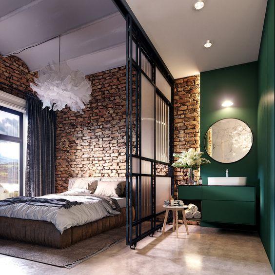 ruda chata-blog-butelkowa zieleń wewnętrzu-loft-czerowna cegła-sypialnia połączona zzielona łazienka