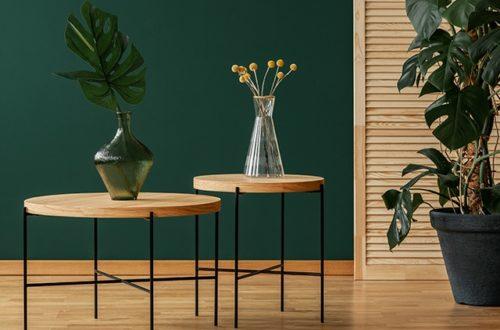 ruda chata-blog-butelkowa zieleń we wnętrzu-zielona ściana-okrągły stolik taca-rośliny o dużych liściach