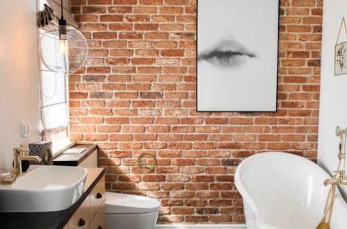 ruda chata-blog-cegła rozbiórkowa-czerwona cegła w łazience