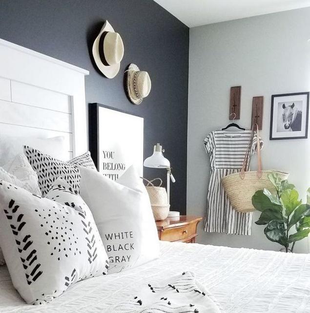 ruda chata-blog-funkcjonalna sypialnia-ergonomia wmieszkaniu-ciemna ścia awsypialni-szara sypialnia-kapelusz