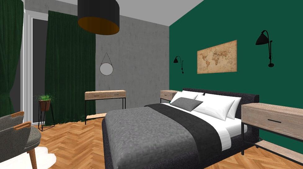 ruda chata-blog-sypialnia zzieloną scianą-projekt1