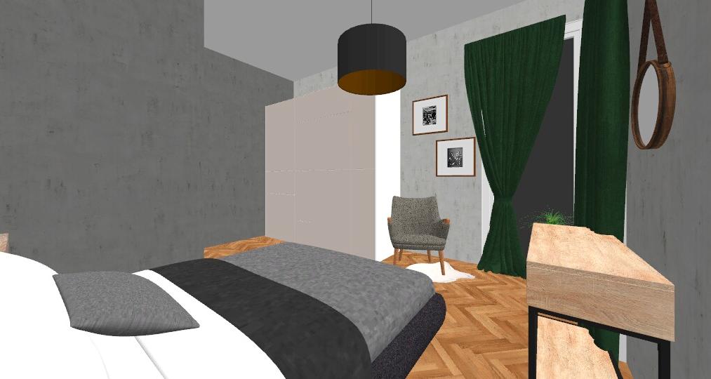 ruda chata-blog-sypialnia zzieloną scianą-projekt2