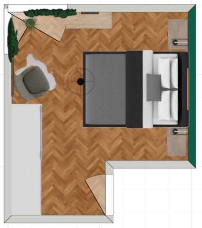 ruda chata-blog-sypialnia zzieloną scianą-rzut zgóry