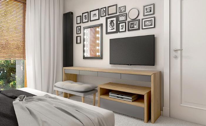 ruda chata-blog-aranżacje ściany ztv-galeria wokół telewizora-jasna sypialnia