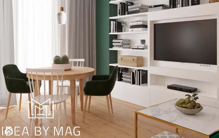 ruda chata-blog-aranżacje ściany ztv-półkie wokół telewizora-jasny salon-zielona ściana