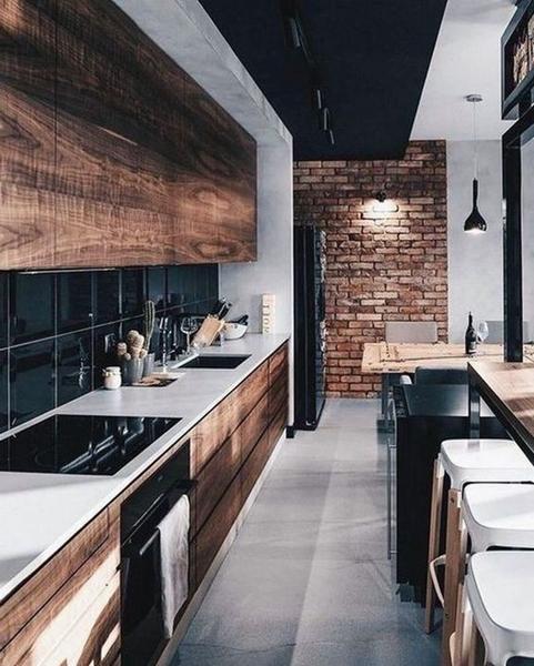 ruda chata-blog-styl industrialny-loftowa kuchnia-drewniano szara kuchnia-betonowy blat kuchenny-czerwona cegła