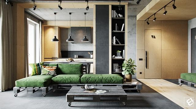 ruda chata-blog-styl industrialny-salon-kanapa zpalet-zielona kanapa-szaro drewniana kuchnia