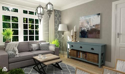 ruda chata-blog-eklektyzm wewnętrzach-styl eklektyczny-mały salon-szary salon-szara sofa-industrialny stolik-duże okna