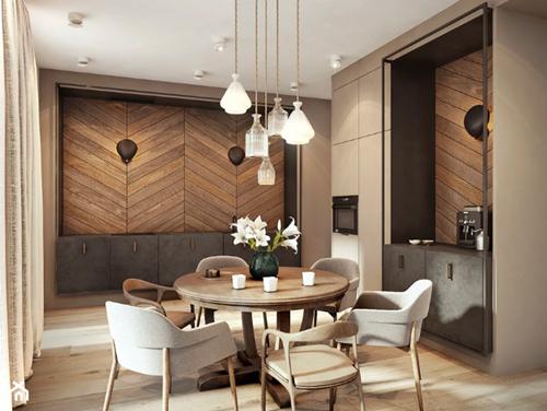 ruda chata-blog-eklektyzm wewnętrzach-styl eklektyczny-okręgły stół-szaro beżowa kuchnia-jodełka naścianie