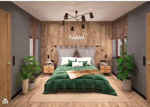 ruda chata-blog-eklektyzm wewnętrzach-styl eklektyczny-szara sypialnia-butelkowa zieleń-panele naścianie-nowoczesny żyrandol