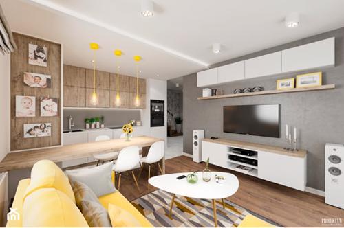 ruda chata-blog-oddzielic kuchnię odsalonu-podwieszany sufit wkuchni-drewniana kuchnia-nowoczesne mieszkanie-zółta kanapa