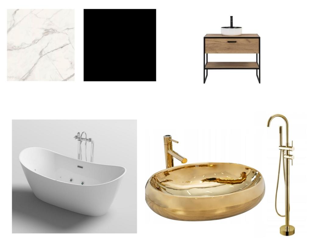 moodboard oczekiwania łazienka wanna wolnostojąca złota umywalka złota bateria wannowa industialna szafka podumywalkę biały marmur czarna ściana włazience duża łazienka zoknem iskosami