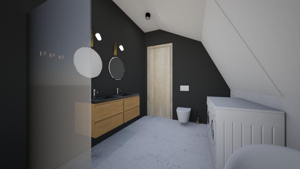 duża łazienka zoknem iskosami jasna łazienka prysznic podoknem wanna wolnostojąca pralka isuszarka marmur iczerń okrągłe lustra