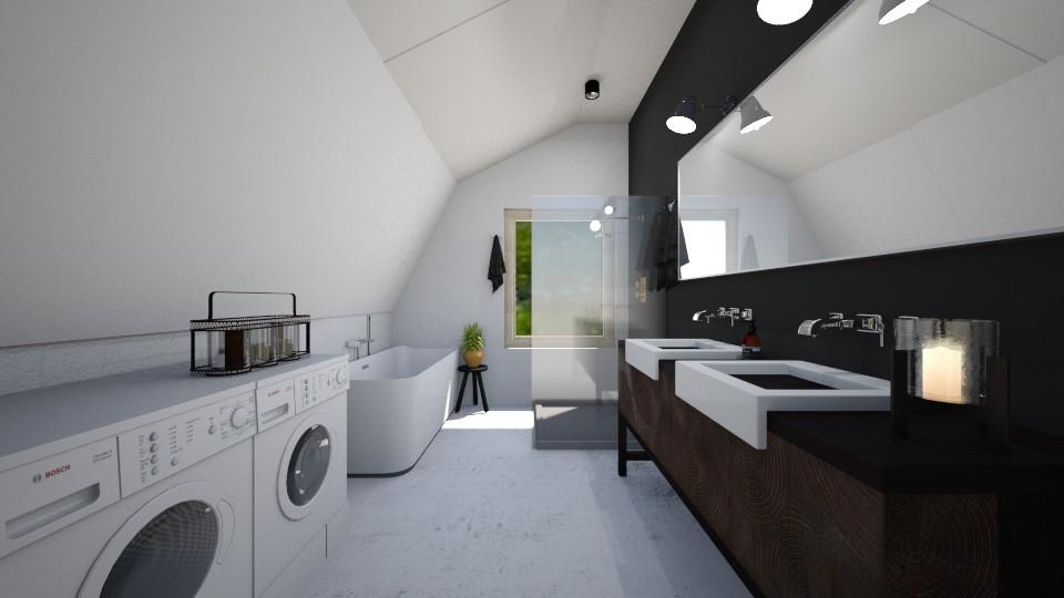 duża łazienka z oknem i skosami jasna łazienka prysznic pod oknem wanna wolnostojąca pralka i suszarka marmur i czerń
