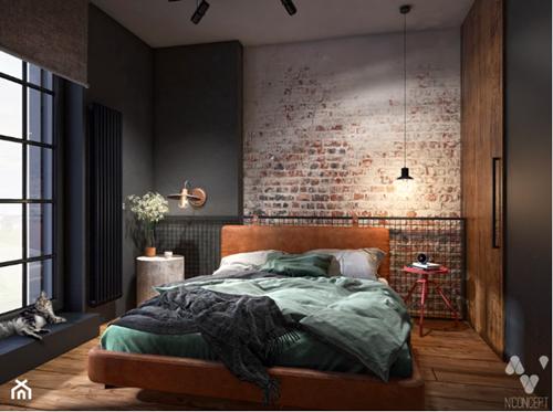 ruda chata-blog-pomysl nasciane zalozkiem-cegla zalozkiem-industrialna loftowa sypialnia-drzwi przesuwne-ciemna sypialnia-n'concept