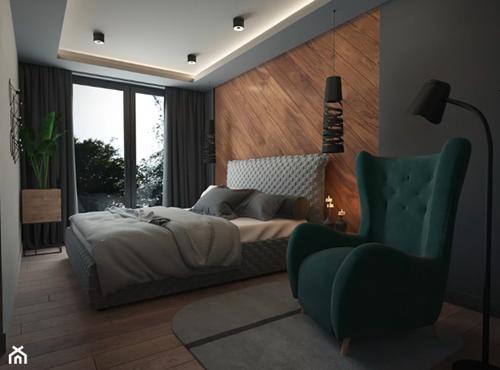 ruda chata-blog-pomysl nasciane zalozkiem-drewnania ściana załóżkiem-panele drewniane naścianie-zielony fote uszak-lozko tapicerowane-vivino studio