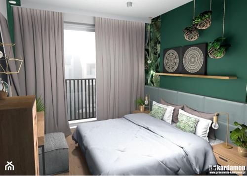 ruda chata-blog-pomysl nasciane zalozkiem-mocny kolor załóżkiem-butelkowa zieleń wsypialni-szaro zielona sypialnia-eklektyzm-pracowania kardamon