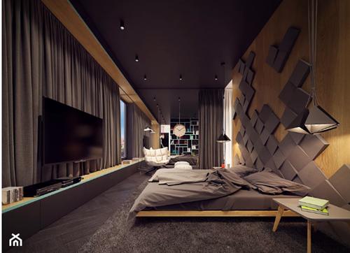 ruda chata-blog-pomysl nasciane zalozkiem-panele 3d wsypialni zalozkiem-ciemna sypialnia-grafitowo drewniana sypialnia-zarys