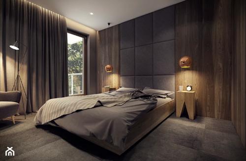 ruda chata-blog-pomysl nasciane zalozkiem-panele tapicerowane zalozkiem-szaro drewniana sypialnia-zarys
