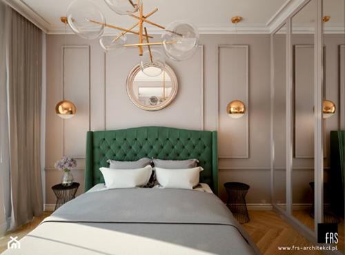 ruda chata-blog-pomysl nasciane zalozkiem-sztukateria zalozkiem-styl nowojorski-zielone lozko-bezowa sypialnia-frs architekci