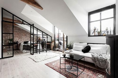 ruda chata-blog-wnętrza wstylu skandynawskim-miksowanie stylów-scandi loft-mieszkanie napoddaszu
