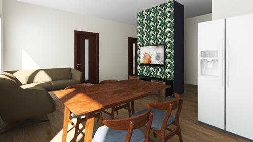 projekt salon zroslinnym motywem trzy pokojowe mieszkanie zamiastem