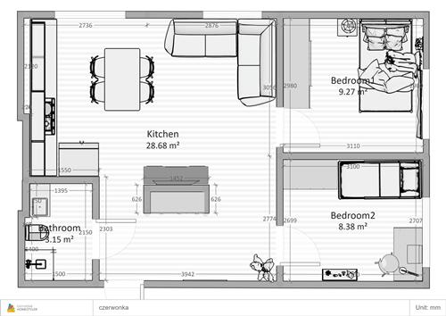 projekt rzut trzy pokojowe mieszkanie zamiastem