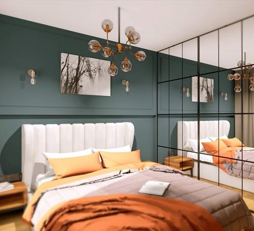 ruda chata-blog-wnętrze wstylu glamour-eklektyczna sypialnia-zielona ściana-nowoczesny złoty żyrandol-industrialna szafa