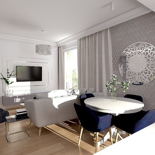 ruda chata-blog-wnętrze wstylu glamour-kolory-salon zgranatowymi fotelami