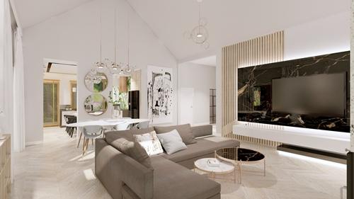 ruda chata-blog-wnętrze wstylu glamour-materiały-salon zczarnym marmurem-marmurowe stoliki-lustra
