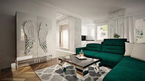 ruda chata-blog-wnętrze wstylu glamour-meble-salopn zzieloną kanapą-szklana szafa zeskrzydłami
