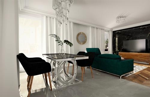 ruda chata-blog-wnętrze wstylu glamour-oswietlenie-salon-zielona kanapa-szklany stół-materiały wglamour