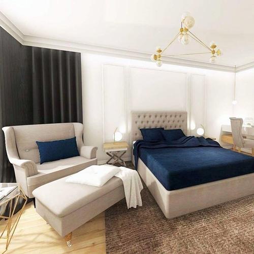 ruda chata-blog-wnętrze wstylu glamour-wykonczenie-sypialnia zesztukaterią-wykończenie-pistwy sufitowe